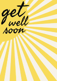 Yellow Get Well Soon Card with Sunshine Sun
