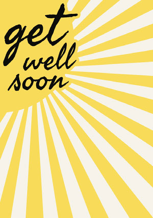 Yellow Get Well Soon Card with Sunshine God bedring-kort