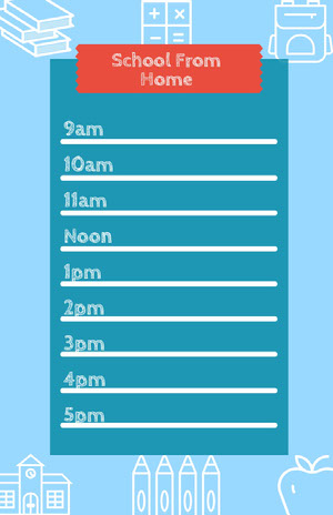 Blue and White School From Home Poster Timetable Maker