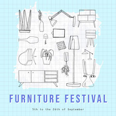 Light Blue Illustrated Furniture Festival Instagram Square Furniture Sale