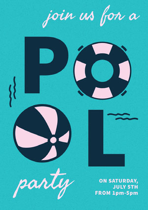 Blue Illustrated Pool Party Invitation Card Party Invitation