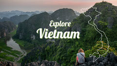 Vietnam Travel and Tourism YouTube Thumbnail with Scenic Landscape Mountains