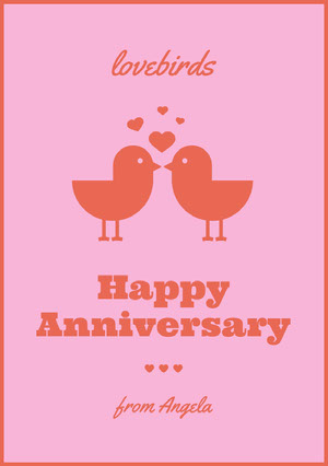 Pink and Red Illustrated Happy Marriage Anniversary Card with Birds and Hearts Carte d'anniversaire de mariage