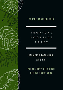 Black and Green Pool Party Invitation Invitation