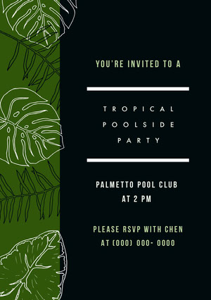 Black and Green Pool Party Invitation Party Invitation