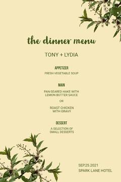 the dinner menu Dinner Menu
