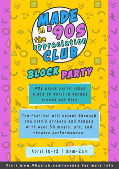 90's club Flyer Block Party Flyer