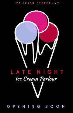 Red Black and White Late Night Poster Ice Creams