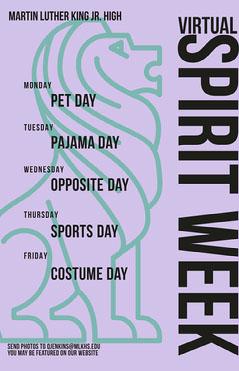 purple virtual spirit week poster Spirit Week