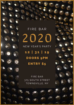 Grey and Gold New Year's Eve Sequin Party Invite New Year