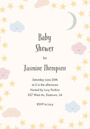clouds stars baby shower invitation a5  Baby Shower Thank You Card