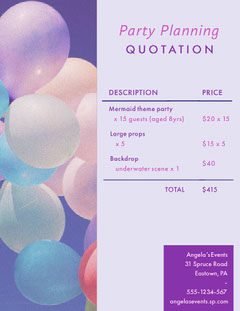 Party Planner Business Quotation Business