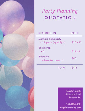 Violet and White Party Planner Business Quotation presupuesto