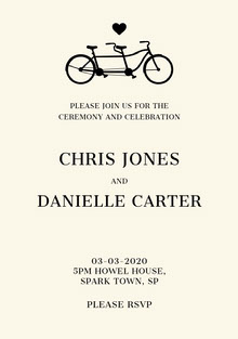Black and White Ceremony Invitation Wedding Invitation