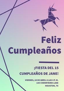 purple and green gradient unicorn birthday cards Tarjeta de cumpleaños