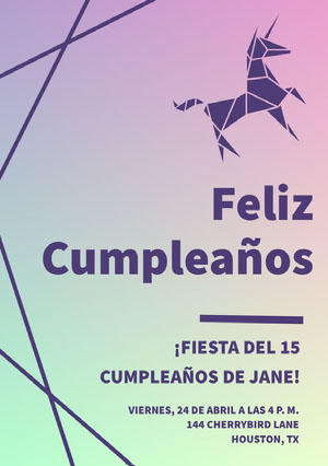 purple and green gradient unicorn birthday cards Tarjeta de cumpleaños de unicornio