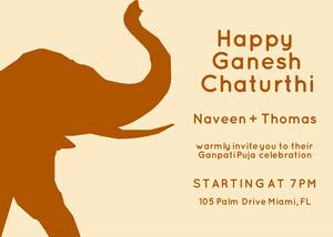Elephant Silhoutte Ganpati Invitation  Ganpati Invitation