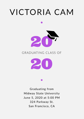 Pink and Black University Graduation Party Invitation Card with Year and Mortarboard Graduation Invitation