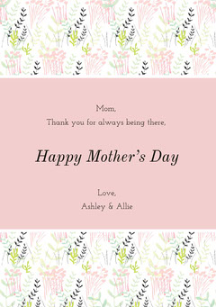Pink Floral Mothers Day Card Flowers