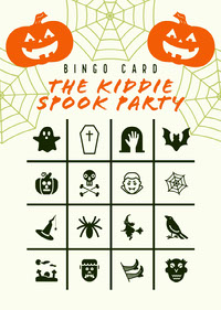 Orange and White Halloween Kid Spooky Party Bingo Card  Festa di Halloween