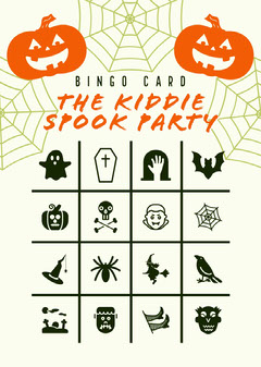 Orange and White Halloween Kid Spooky Party Bingo Card  Halloween Party Bingo Card