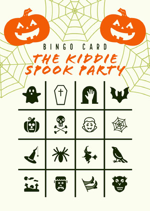 Orange and White Halloween Kid Spooky Party Bingo Card  ビンゴカード