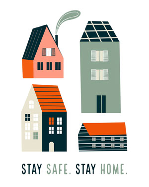Cute Illustrated Stay Safe Stay Home Message Resta a casa, vivi a casa