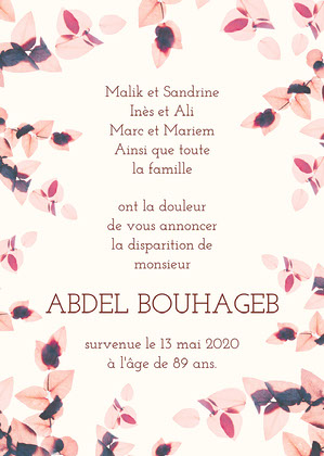 Pink Floral Frame Death Announcement Card Carte de condoléances