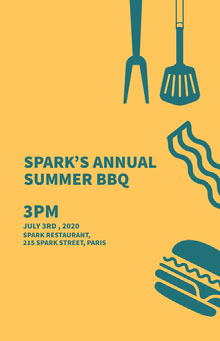 Yellow and Blue Summer Barbeque Party Ad Poster BBQ Menu