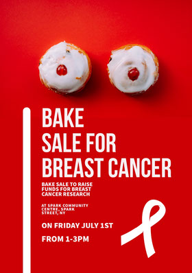 Breast Cancer Bake Sale Fundraiser Event Poster Folleto de invitación a evento