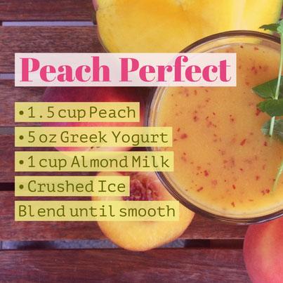 • 1.5 cup Peach• 5 oz Greek Yogurt• 1 cup Almond Milk• Crushed IceBlend until smooth