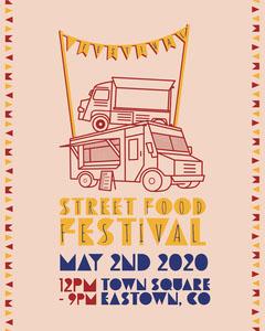 Multicolour Flags and Food Trucks Street Food Festival Instagram portrait  Food