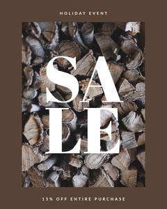 Brown and White Sale Ad Instagram Portrait Holiday Sale