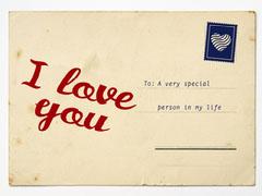 Old Vintage I Love You Postcard Love
