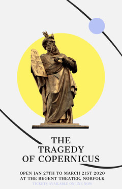 Brown and Yellow Statue Copernicus Theater Play Poster Play Poster