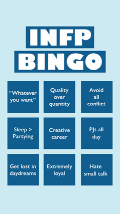 Blue Personality Type Bingo Card Blue