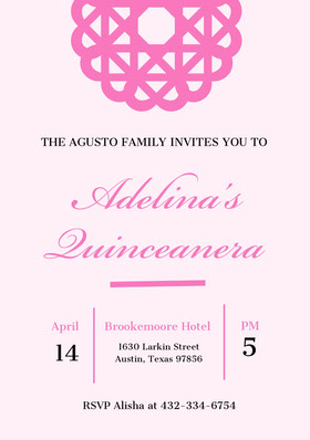 Pink Elegant Quinceanera Birthday Invitation Card Birthday Invitation