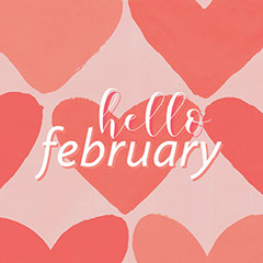 Pink and Red Hello February Instagram Graphic Hello