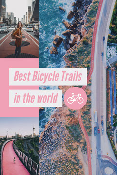 Pink and Blue Best Bicycle Trails Pinterest Graphic Bike