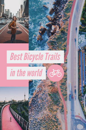 Pink and Blue Best Bicycle Trails Pinterest Graphic Scrapbook Maker