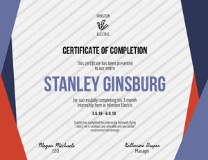 Blue and Red Geometric Striped Electrician Internship Completion Certificate Certificat