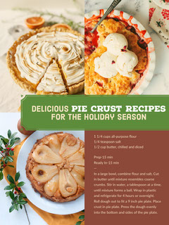 Brown and Green Pie Crust Recipe Card Recipes