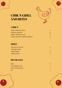 CHIK'N GRILL AND BITES BBQ Menu