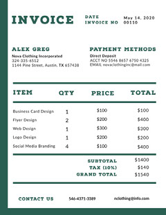 Green Graphic Design Studio Invoice Designer