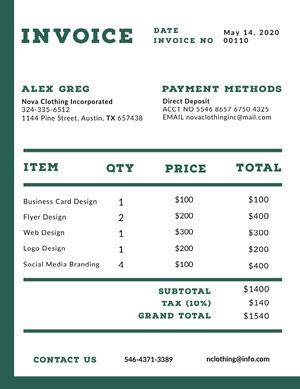 Green Graphic Design Studio Invoice 청구서