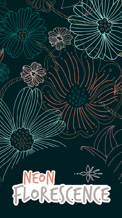 Floral Pattern Neon florescence iPhone Wallpaper Neon
