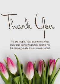 Calligraphy Floral Wedding Attendance Thank You Card Thank You Messages