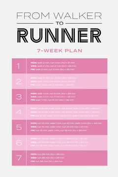 Pink White Walker To Runner Planner Workout