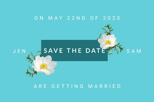 Blue and White Wedding Invitation Card Save the Date Postcard
