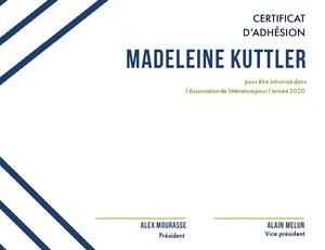 Madeleine Kuttler Certificat